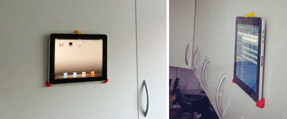 Add an iPad holder to your kitchen cabinets