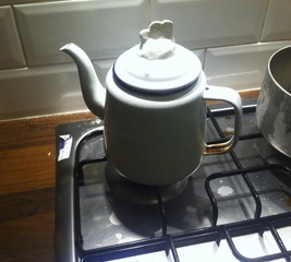 Heat resistant grip for a tea pot