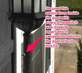 Repair an outdoor post lamp switch